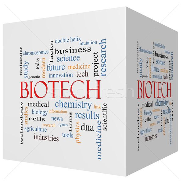 Biotech 3D cube Word Cloud Concept Stock photo © mybaitshop