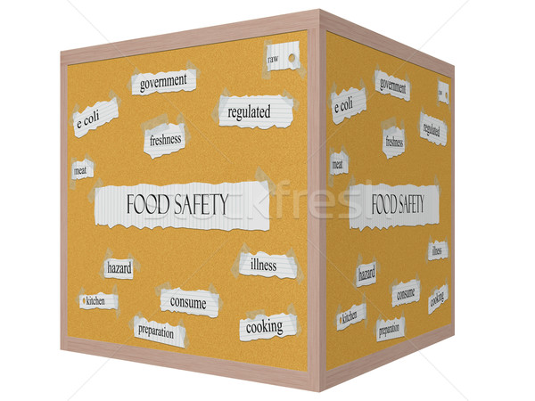 Stock photo: Food Safety 3D cube Corkboard Word Concept
