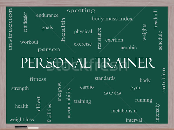 Personal Trainer Word Cloud Concept on a Blackboard Stock photo © mybaitshop