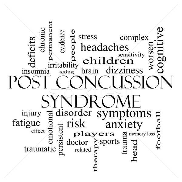 Post Concussion Syndrome Word Cloud Concept in black and white Stock photo © mybaitshop