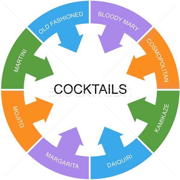 Koktélok szó kör nagyszerű martini véres Stock fotó © mybaitshop