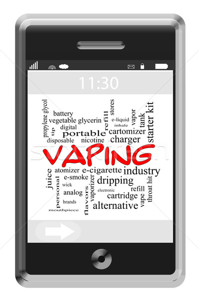 Vaping Word Cloud Concept on a Touchscreen Phone Stock photo © mybaitshop