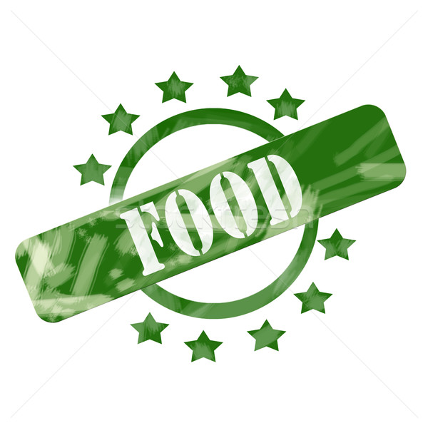 Green Weathered Food Stamp Circle and Stars design Stock photo © mybaitshop