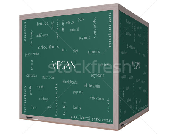 Vegan Word Cloud Concept on a 3D cube Blackboard Stock photo © mybaitshop