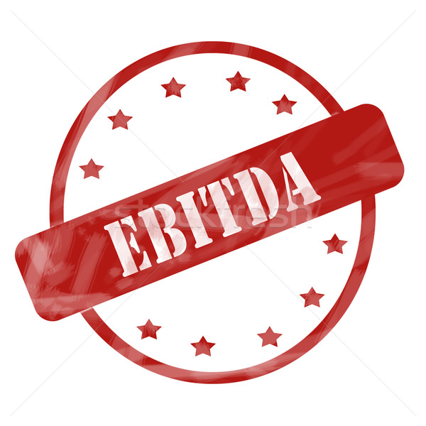 Red Weathered EBITDA Stamp Circle and Stars Stock photo © mybaitshop