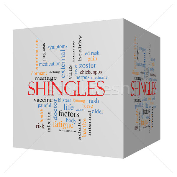Stock photo: Shingles 3D cube Word Cloud Concept