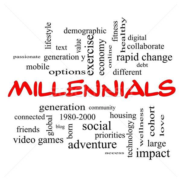 Stock photo: Millennials Word Cloud Concept in red caps