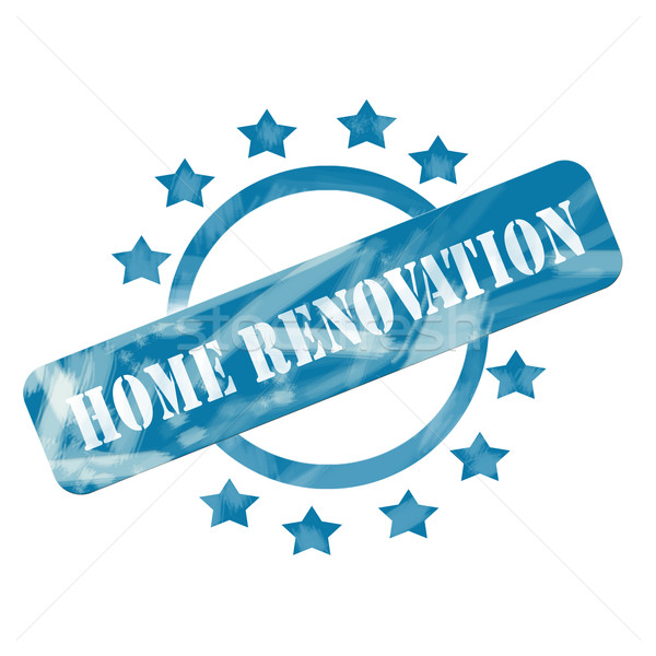 Blue Weathered Home Renovations Stamp Circle and Stars design Stock photo © mybaitshop