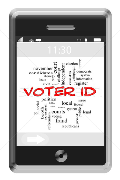 Voter ID Word Cloud Concept on a Touchscreen Phone Stock photo © mybaitshop
