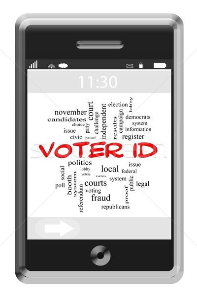 Szavazó személyi igazolvány szófelhő érintőképernyő telefon nagyszerű Stock fotó © mybaitshop