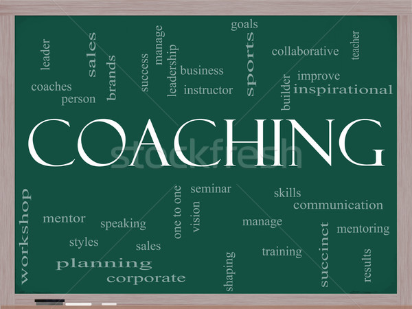Coaching Word Cloud on Blackboard Stock photo © mybaitshop