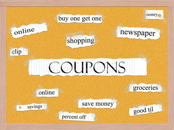 Coupons Corkboard Word Concept Stock photo © mybaitshop