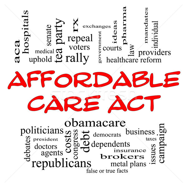 Affordable Care Act Word Cloud Concept in Red Caps Stock photo © mybaitshop