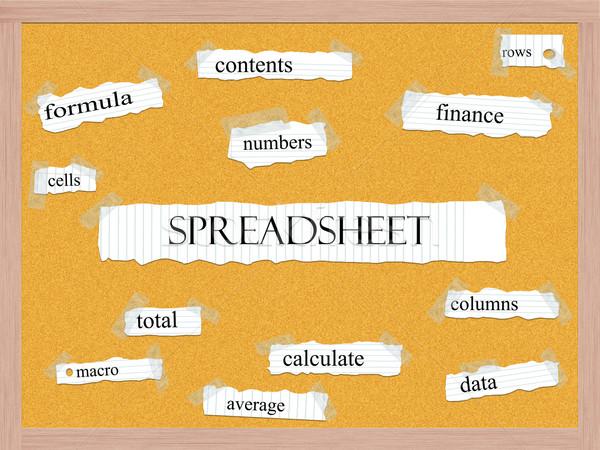 Spreadsheet Corkboard Word Concept Stock photo © mybaitshop