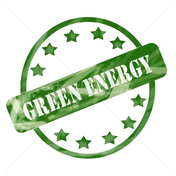 Groene verweerde groene energie stempel cirkel sterren Stockfoto © mybaitshop