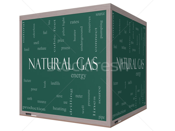 Natural Gas Word Cloud Concept on a 3D cube Blackboard Stock photo © mybaitshop