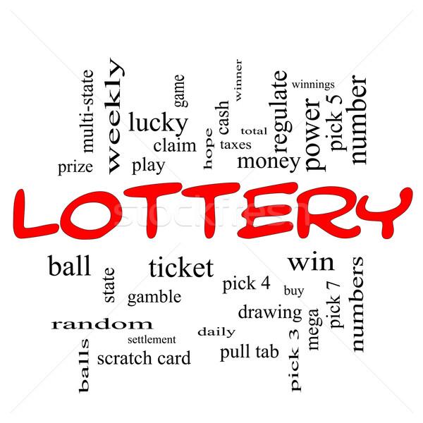 лотерея слово облако красный играть выиграть Сток-фото © mybaitshop