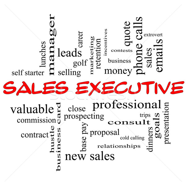 Sales Executive Word Cloud Concept in red caps Stock photo © mybaitshop