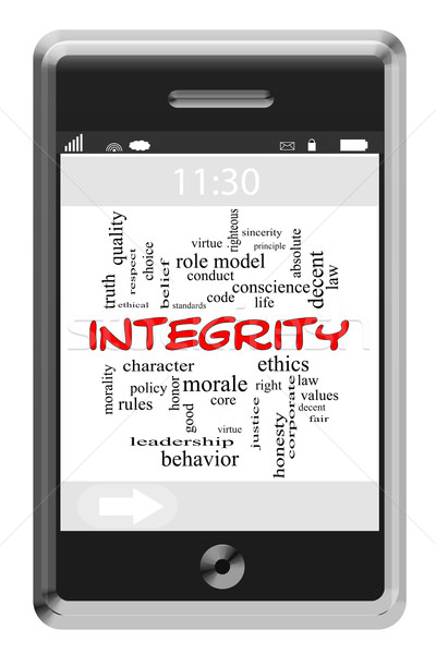 Integrity Word Cloud Concept on Touchscreen Phone Stock photo © mybaitshop
