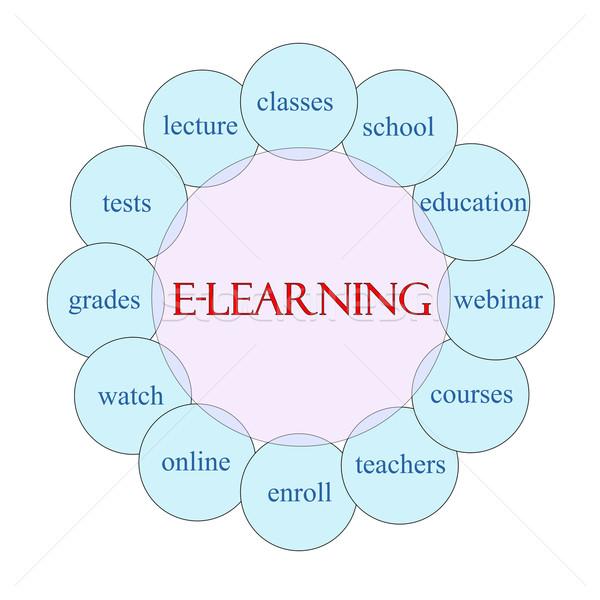 Online oktatás körkörös szó diagram rózsaszín kék Stock fotó © mybaitshop
