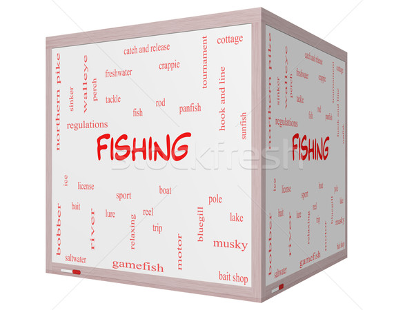 Fishing Word Cloud Concept on a 3D cube Whiteboard Stock photo © mybaitshop