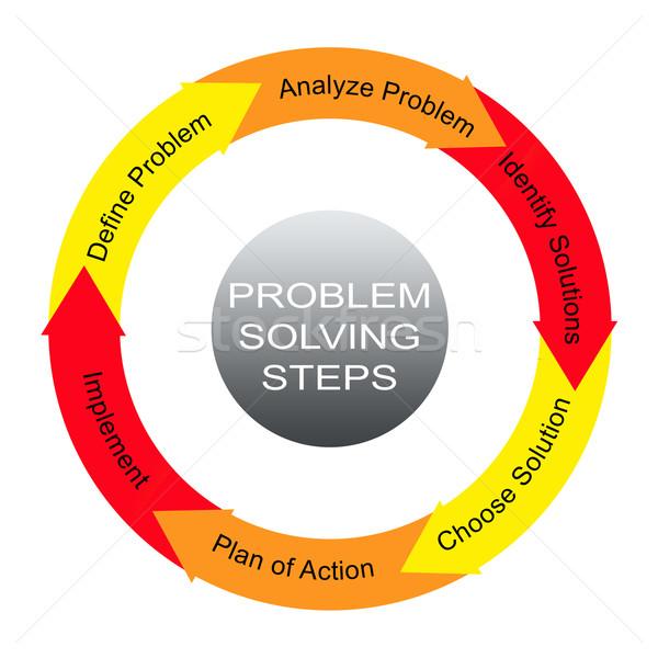 Problémamegoldás lépcső szó kör körök nagyszerű Stock fotó © mybaitshop
