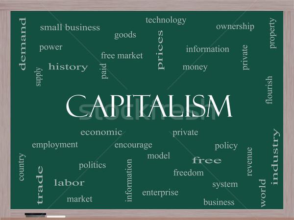Capitalism Word Cloud Concept on a Blackboard Stock photo © mybaitshop