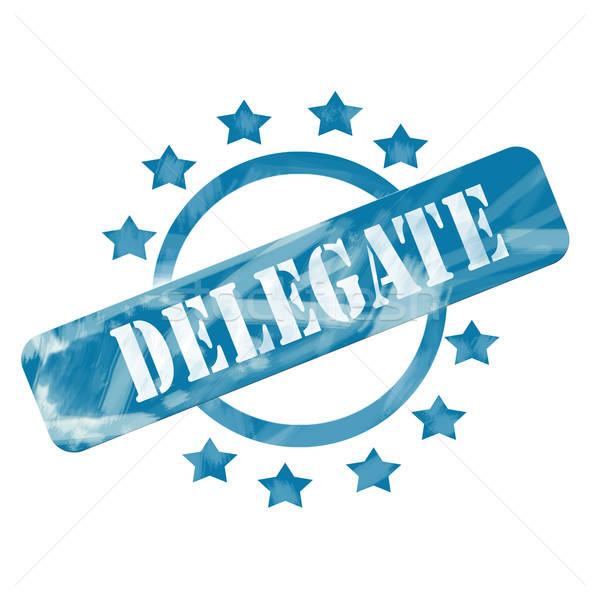 Blue Weathered Delegate Stamp Circle and Stars design Stock photo © mybaitshop