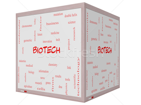 Biotech Word Cloud Concept on a 3D cube Whiteboard Stock photo © mybaitshop