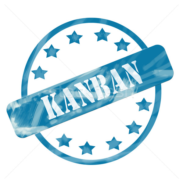 Blue Weathered Kanban Stamp Circle and Stars Stock photo © mybaitshop