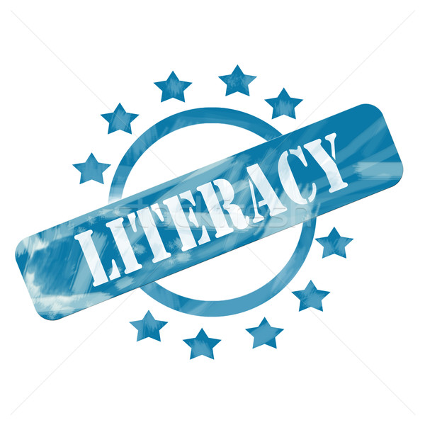 Blue Weathered Literacy Stamp Circle and Stars design Stock photo © mybaitshop