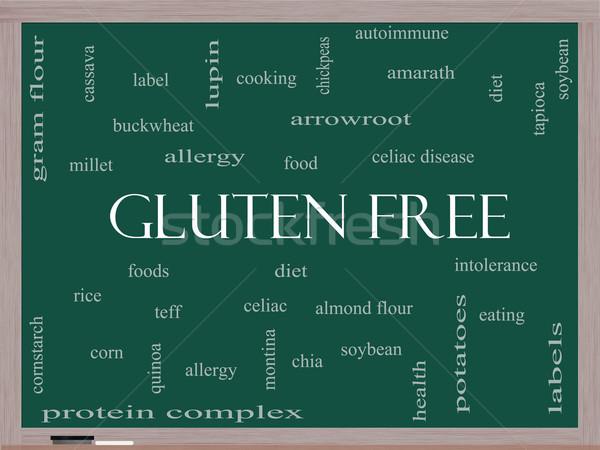 Gluténmentes szófelhő iskolatábla nagyszerű étel allergia Stock fotó © mybaitshop