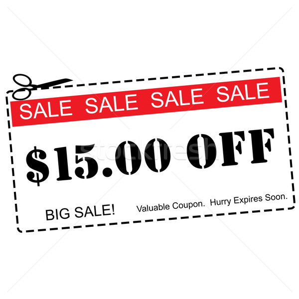 Fifteen Dollars Off Sale Coupon Stock photo © mybaitshop