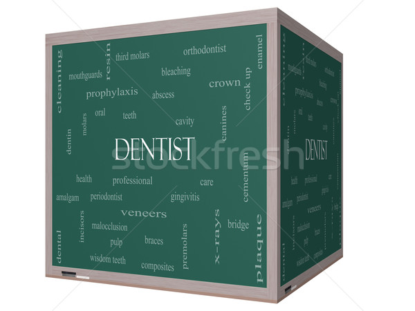 Dentist Word Cloud Concept on a 3D cube Blackboard Stock photo © mybaitshop