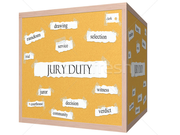Jury Duty 3D cube Corkboard Word Concept Stock photo © mybaitshop