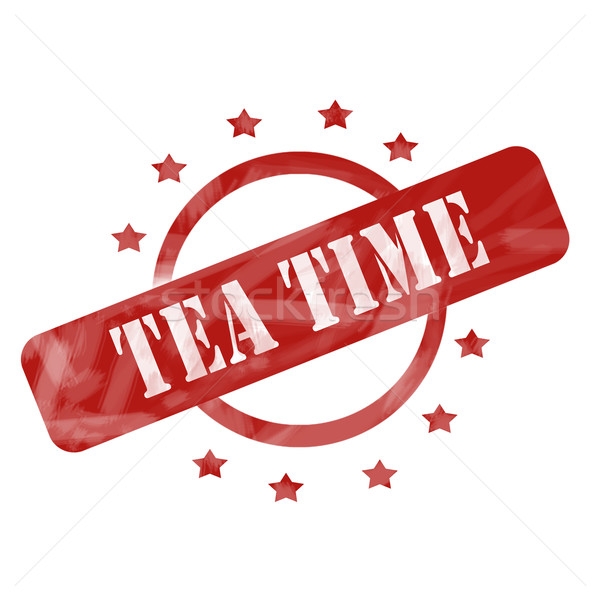 Red Weathered Tea Time Stamp Circle and Stars design Stock photo © mybaitshop