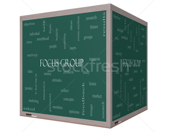 Focus group word cloud 3D cubo lavagna Foto d'archivio © mybaitshop