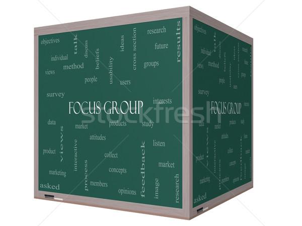 Focus Group Word Cloud Concept on a 3D cube Blackboard Stock photo © mybaitshop