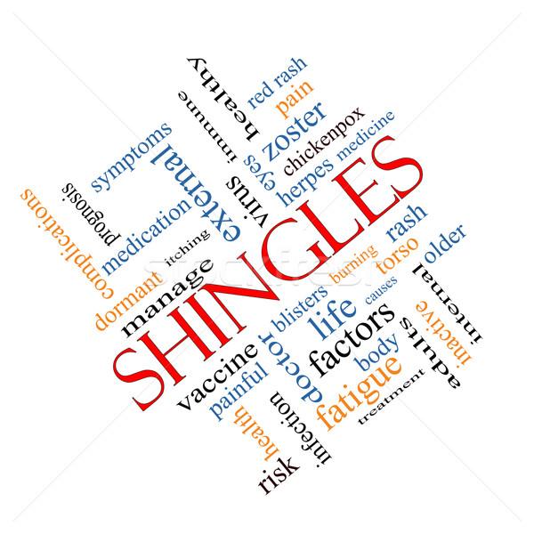 Shingles Word Cloud Concept angled Stock photo © mybaitshop