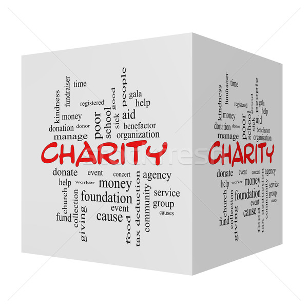 Charity 3D Word Cloud Concept red caps Stock photo © mybaitshop