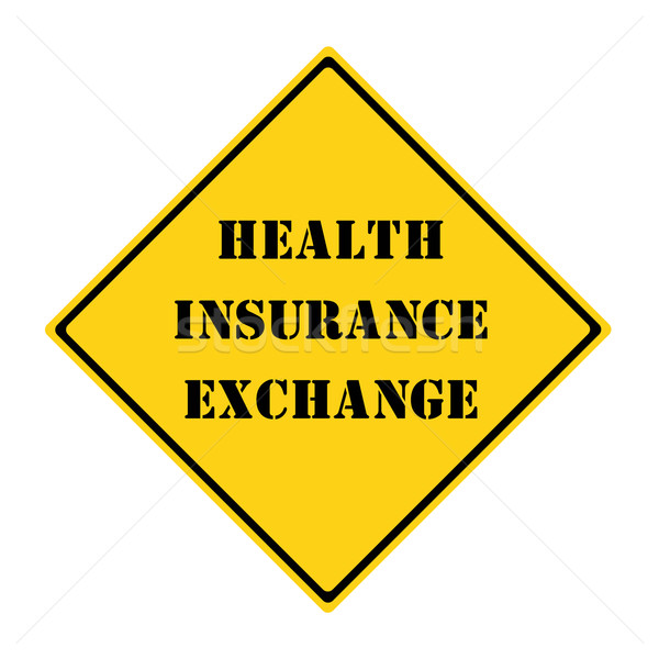 Egészségbiztosítás csere felirat citromsárga fekete gyémánt Stock fotó © mybaitshop