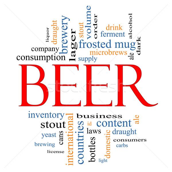 Cerveza nube de palabras taza levadura Foto stock © mybaitshop
