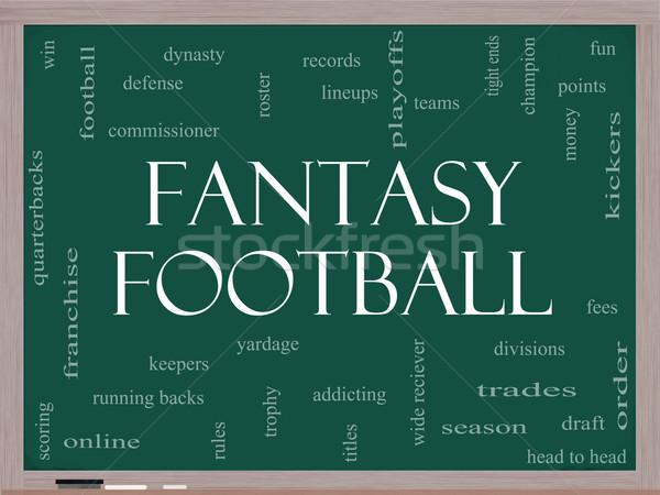 Fantasy piłka nożna chmura słowo tablicy uruchomiony Zdjęcia stock © mybaitshop