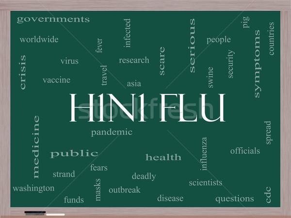 H1n1 грипп слово облако доске лихорадка Сток-фото © mybaitshop