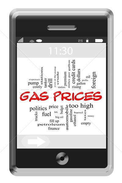 Gas Prices Word Cloud Concept on Touchscreen Phone Stock photo © mybaitshop