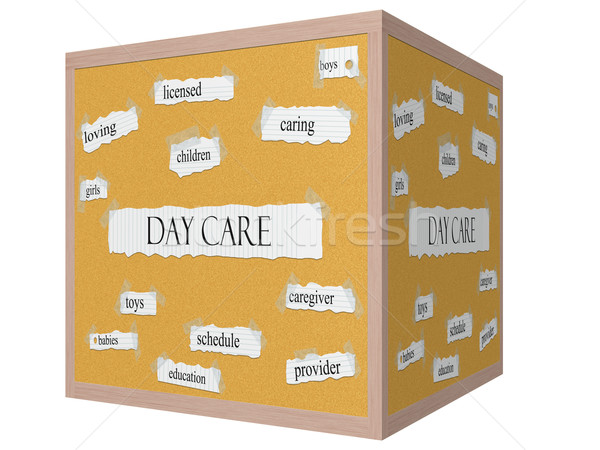 Day Care 3D Cube Corkboard Word Concept Stock photo © mybaitshop