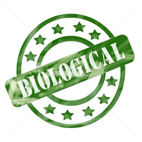 зеленый выветрившийся биологический штампа Круги звезды Сток-фото © mybaitshop