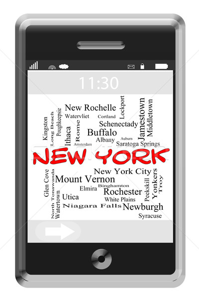 New York Word Cloud Concept on Touchscreen Phone Stock photo © mybaitshop
