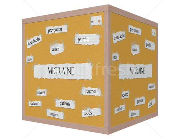 Enxaqueca 3D cubo palavra doloroso Foto stock © mybaitshop