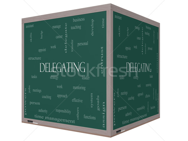 Delegating Word Cloud Concept on a 3D cube Blackboard Stock photo © mybaitshop